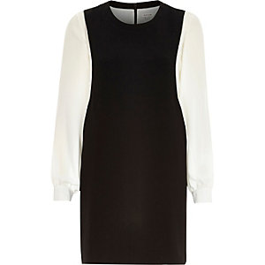 Black contrast long sleeve pinafore dress