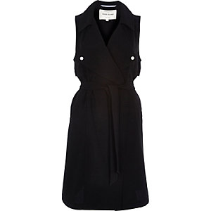 Black crepe sleeveless trench jacket