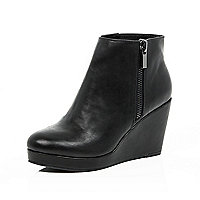 Black wedge heel ankle boots