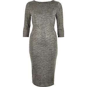 Silver metallic marl draped back dress