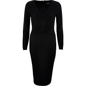 Black crossover bodycon evening dress