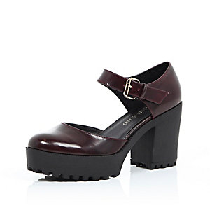Dark red chunky strap shoes