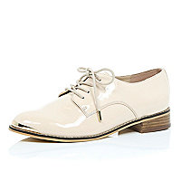 Nude pink patent lace up brogues