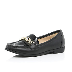 Black gold trim loafers