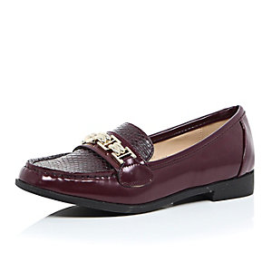 Dark red gold trim loafers