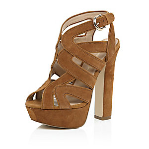 Brown suede caged platform heels