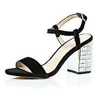 Black velvet gem encrusted block heel sandals