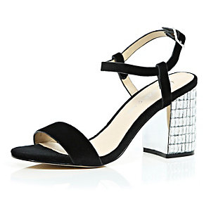 Black velvet gem encrusted block heel sandals