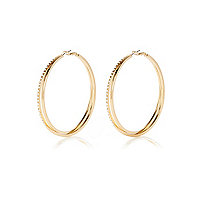 Gold tone diamante double hoop earrings