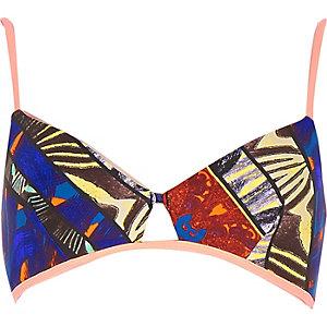 Blue print triangle clip front bikini top