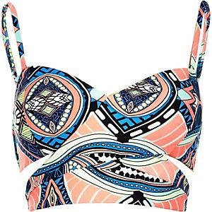Coral print wrap bikini top