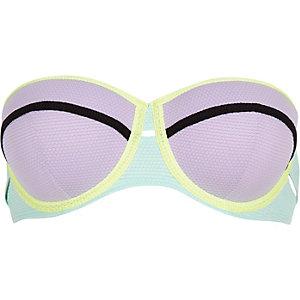 Purple colour block bustier bikini top