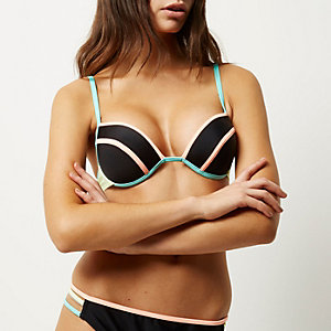 Black colour block plunge bikini top