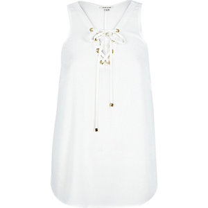 Cream eyelet lace up vest