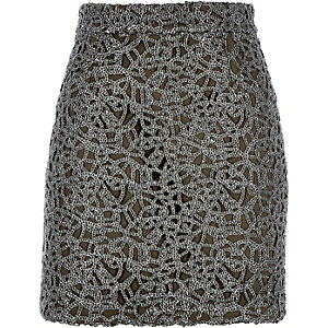Khaki metallic lace A-line skirt