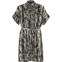 Black print satin crepe shirt dress