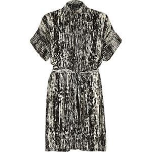 Black print satin crepe shirt dress