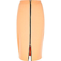 Light orange zip front pencil skirt