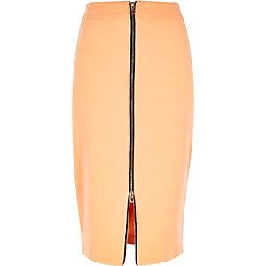 Light orange zip front pencil skirt
