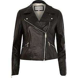 Black leather fitted biker jacket