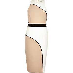 Beige curved print bodycon dress
