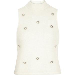 Cream embellished roll neck sleeveless top