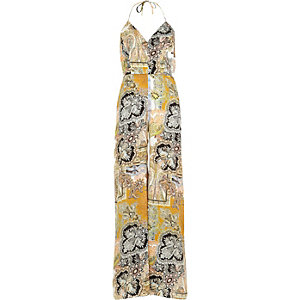 Yellow paisley print wide leg jumpsuit