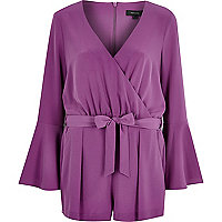 Purple smart 70s bell sleeve playsuit