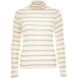Cream metallic stripe roll neck
