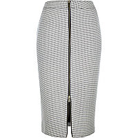 Black check print zip front pencil skirt
