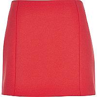 Red woven mini pelmet skirt
