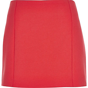 Red woven mini pelmet skirt
