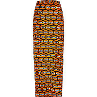 Orange woven print maxi skirt