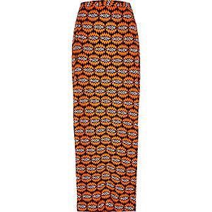 Orange woven print maxi skirt