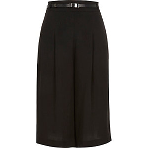 Black silky belted culottes