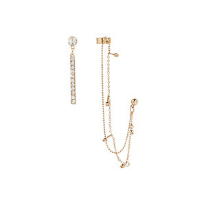 Gold tone asymmetric ear cuff pack
