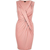 Pink draped twist dress
