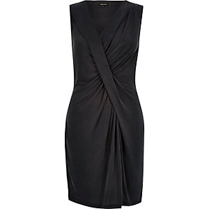 Black draped twist dress