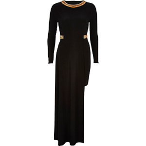 Black embellished high low hem maxi dress