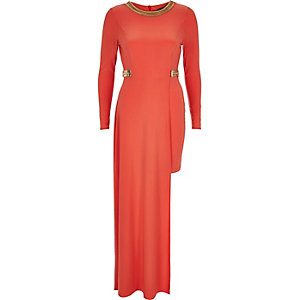 Red embellished high low hem maxi dress