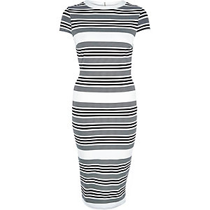 Black stripe short sleeve midi dress