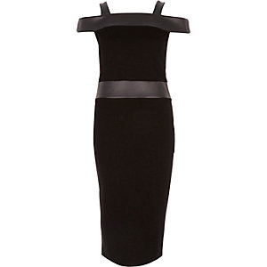 Black leather-look panel bardot bodycon dress