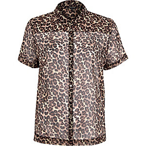 Brown leopard print short sleeve shirt