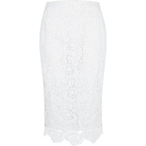 White lace pencil skirt