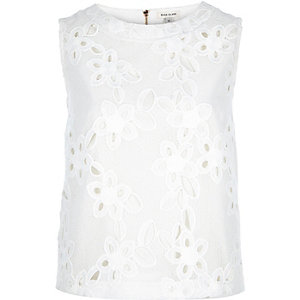 White lace sleeveless shell top