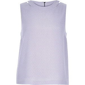 Light purple cut out shell top