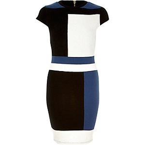 Black colour block bodycon dress