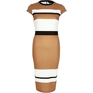 Camel stripe bodycon midi dress