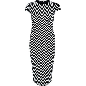Black chevron print bodycon midi dress
