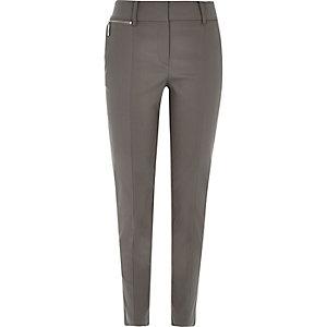 Grey cigarette trousers
